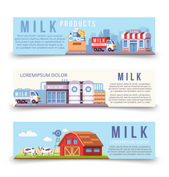 milk production horizontal banners template vector image