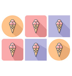 outlined icon of ice cream cone with parallel and vector image
