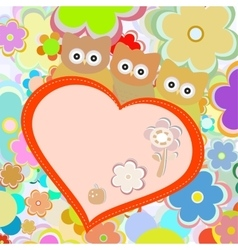Owls in flowers with big heart greetings vector