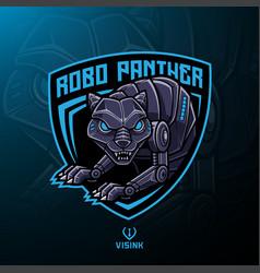 Panther robot mascot logo design vector
