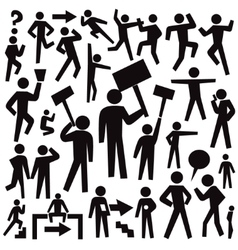 People protest - set graphic icons vector