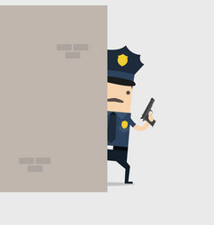 police holding a gun behind wall vector image