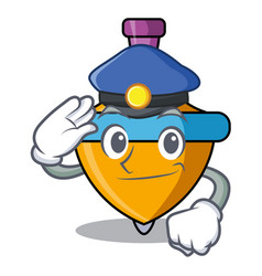 Police spinning top character cartoon vector