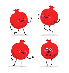 pomegranate cute fruit character set vector image
