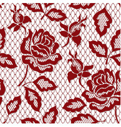 red rose seamless lace pattern with rose on vector image