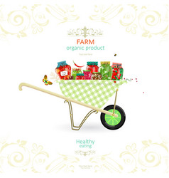Retro banner with tasty pickled foods on garden vector