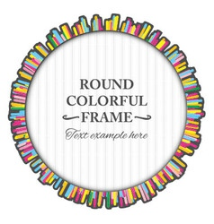 Round colorful frame made many small lines vector