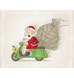 Santa Claus on a Scooter with Gift Bag Cart vector image