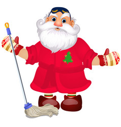 santa claus with a mop to wash floors vector image