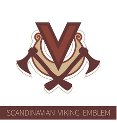 scandinavian viking emblem vector image