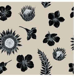 seamless pattern of allamanda and vriesea vector image