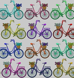 Seamless pattern of bicycles vector