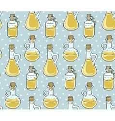 Seamless pattern with bottles Natural oil vector