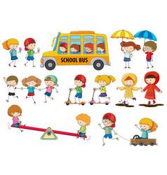 Set doodle kids vector
