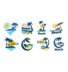 Set icons for beach vector