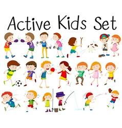 Set of children doing different activities vector