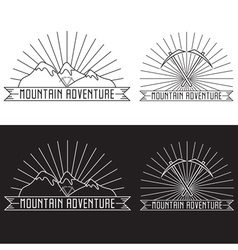 Set of vintage line craft labels mountain vector