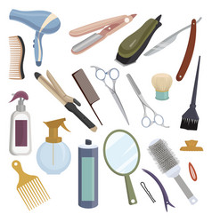 set tools for hairdresser collection of vector image
