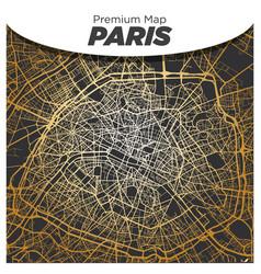 Shiny gold map paris city center on dark gray vector