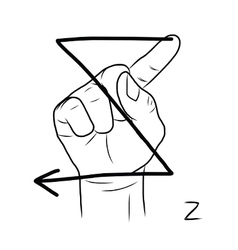 Sign language and the alphabetThe Letter z vector