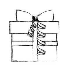 Silhouette blurred gift box with ribbon vector