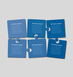 Six jigsaw puzzle template process with text space vector
