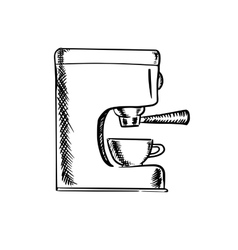 Sketch an espresso coffee machine vector