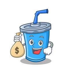 Soda drink character cartoon with money bag vector