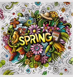 spring hand drawn cartoon doodles vector image