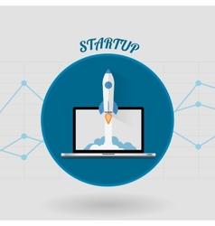 Start Up Concept Space Roket Modern Flat Design vector
