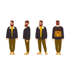 Stout bearded hipster man dressed in stylish vector