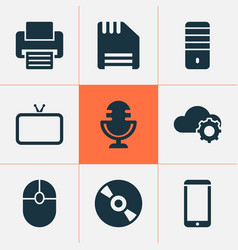 technology icons set with cloudtech mouse pc and vector image