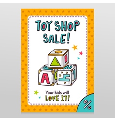 Toy shop sale flyer design with toy blocks for vector image