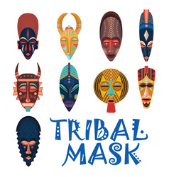tribal masks for african shaman or voodoo vector image