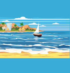 Tropical island hotels bungalows vacation vector