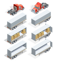 Truck isometric icon set vector