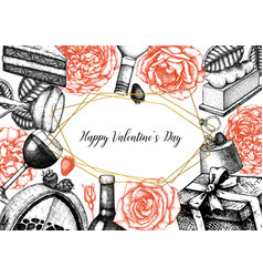 valentines day poster greetings card or vector image