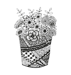 Vase with doodling hand drawn flowers and patterns vector image