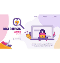 Web design home page searching best courses online vector