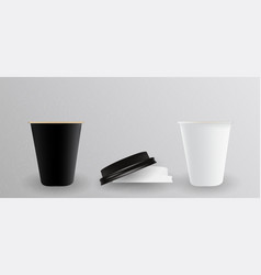 white and black paper cup for hot vector image