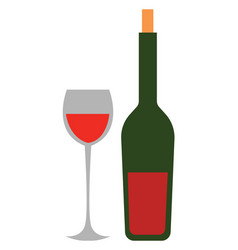 wine glass and bottle hand drawn design on white vector image