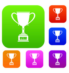 winner cup set color collection vector image