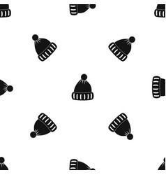 woolen hat pattern seamless black vector image