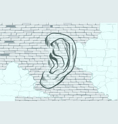 ear graffiti tattoo silhouette on a background old vector image