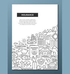 insurance - line design brochure poster template vector image