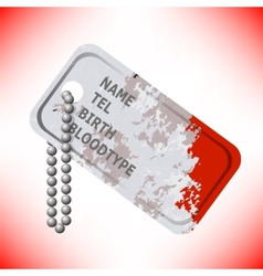 Military Dog Tag on Grey Background vector image