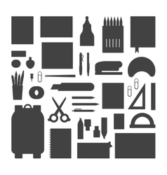 School supplies silhouette vector image