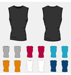 Set of colored sleeveless shirts templates for men vector