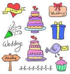 Set of wedding party object doodles vector