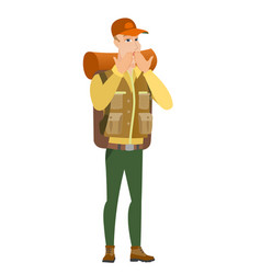 shoked caucasian traveler covering mouth vector image